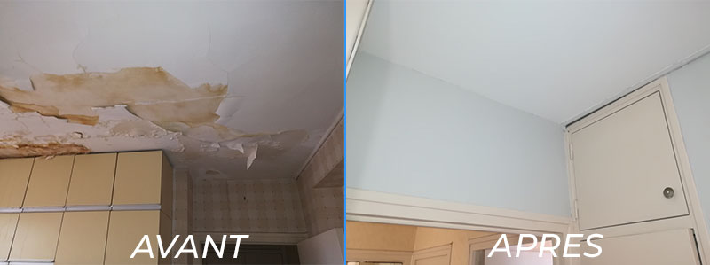 rénovation plafond après dégât des eaux